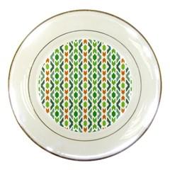 Chevron Wave Green Orange Porcelain Plates by Alisyart