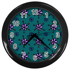Blue Purple Floral Flower Sunflower Frame Wall Clocks (black) by Alisyart
