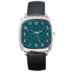Blue Purple Floral Flower Sunflower Frame Square Metal Watch by Alisyart