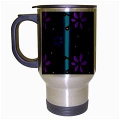 Blue Purple Floral Flower Sunflower Frame Travel Mug (silver Gray) by Alisyart