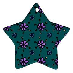 Blue Purple Floral Flower Sunflower Frame Star Ornament (two Sides) by Alisyart
