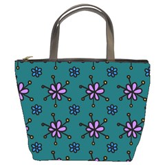 Blue Purple Floral Flower Sunflower Frame Bucket Bags by Alisyart