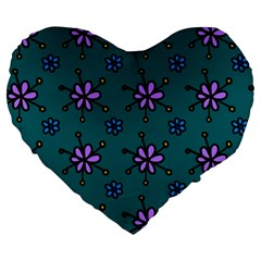 Blue Purple Floral Flower Sunflower Frame Large 19  Premium Heart Shape Cushions by Alisyart