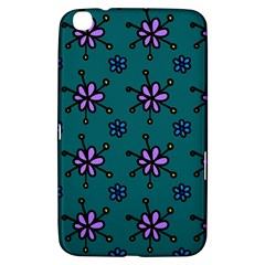 Blue Purple Floral Flower Sunflower Frame Samsung Galaxy Tab 3 (8 ) T3100 Hardshell Case  by Alisyart
