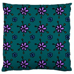 Blue Purple Floral Flower Sunflower Frame Large Flano Cushion Case (one Side) by Alisyart