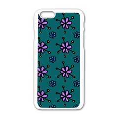Blue Purple Floral Flower Sunflower Frame Apple Iphone 6/6s White Enamel Case by Alisyart