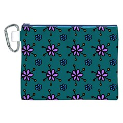 Blue Purple Floral Flower Sunflower Frame Canvas Cosmetic Bag (xxl) by Alisyart