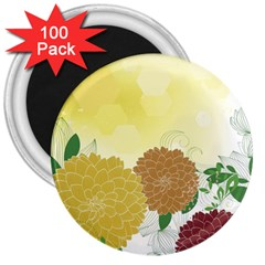 Abstract Flowers Sunflower Gold Red Brown Green Floral Leaf Frame 3  Magnets (100 Pack) by Alisyart
