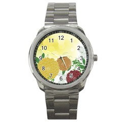 Abstract Flowers Sunflower Gold Red Brown Green Floral Leaf Frame Sport Metal Watch by Alisyart