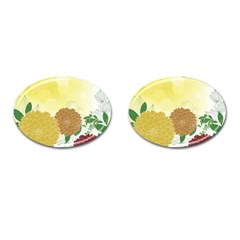 Abstract Flowers Sunflower Gold Red Brown Green Floral Leaf Frame Cufflinks (oval) by Alisyart