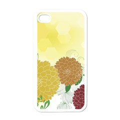 Abstract Flowers Sunflower Gold Red Brown Green Floral Leaf Frame Apple Iphone 4 Case (white) by Alisyart
