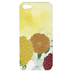 Abstract Flowers Sunflower Gold Red Brown Green Floral Leaf Frame Apple Iphone 5 Hardshell Case by Alisyart