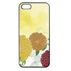 Abstract Flowers Sunflower Gold Red Brown Green Floral Leaf Frame Apple Iphone 5 Seamless Case (black) by Alisyart