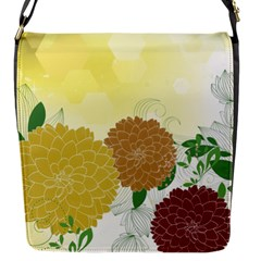 Abstract Flowers Sunflower Gold Red Brown Green Floral Leaf Frame Flap Messenger Bag (s) by Alisyart