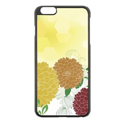 Abstract Flowers Sunflower Gold Red Brown Green Floral Leaf Frame Apple Iphone 6 Plus/6s Plus Black Enamel Case by Alisyart