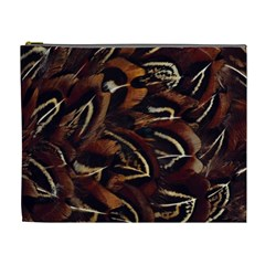 Feathers Bird Black Cosmetic Bag (xl) by Simbadda
