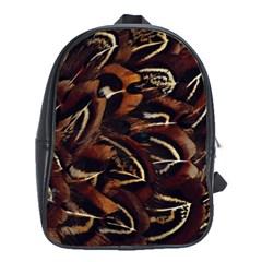 Feathers Bird Black School Bags(large)  by Simbadda