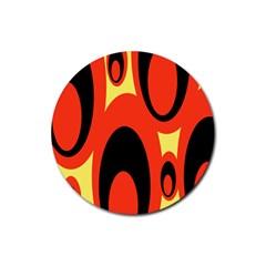 Circle Eye Black Red Yellow Rubber Round Coaster (4 Pack)  by Alisyart