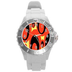 Circle Eye Black Red Yellow Round Plastic Sport Watch (l) by Alisyart