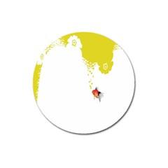 Fish Underwater Yellow White Magnet 3  (round) by Simbadda