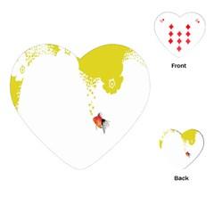 Fish Underwater Yellow White Playing Cards (heart)  by Simbadda