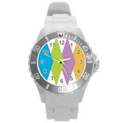 Chevron Wave Triangle Plaid Blue Green Purple Orange Rainbow Round Plastic Sport Watch (l) by Alisyart