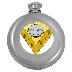 Cheese Mose Yellow Grey Round Hip Flask (5 Oz) by Alisyart