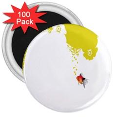 Fish Underwater Yellow White 3  Magnets (100 Pack)