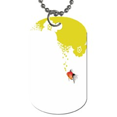 Fish Underwater Yellow White Dog Tag (one Side) by Simbadda