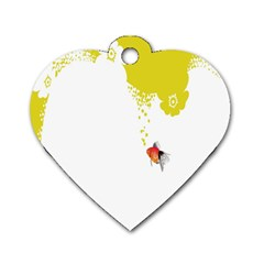 Fish Underwater Yellow White Dog Tag Heart (one Side) by Simbadda