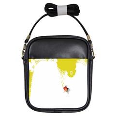 Fish Underwater Yellow White Girls Sling Bags by Simbadda