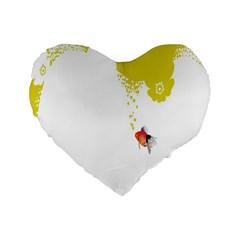 Fish Underwater Yellow White Standard 16  Premium Heart Shape Cushions by Simbadda