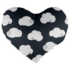Cloud White Gray Sky Large 19  Premium Flano Heart Shape Cushions by Alisyart