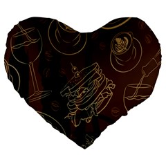Coffe Break Cake Brown Sweet Original Large 19  Premium Heart Shape Cushions by Alisyart