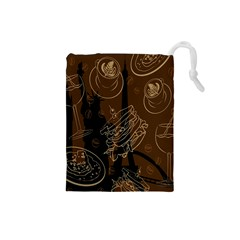 Coffe Break Cake Brown Sweet Original Drawstring Pouches (small)  by Alisyart