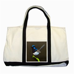 Animals Bird Green Ngray Black White Blue Two Tone Tote Bag by Alisyart