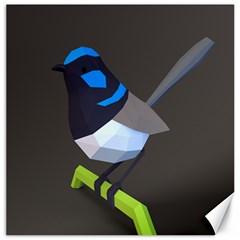 Animals Bird Green Ngray Black White Blue Canvas 12  X 12   by Alisyart
