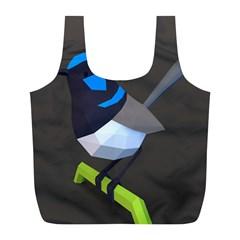 Animals Bird Green Ngray Black White Blue Full Print Recycle Bags (l)  by Alisyart