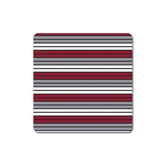 Fabric Line Red Grey White Wave Square Magnet by Alisyart