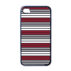 Fabric Line Red Grey White Wave Apple Iphone 4 Case (black) by Alisyart