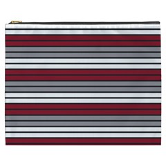 Fabric Line Red Grey White Wave Cosmetic Bag (xxxl)  by Alisyart