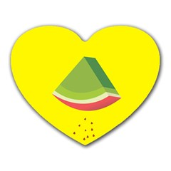 Fruit Melon Sweet Yellow Green White Red Heart Mousepads by Alisyart