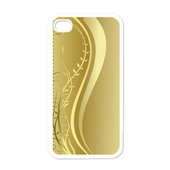 Golden Wave Floral Leaf Circle Apple Iphone 4 Case (white) by Alisyart