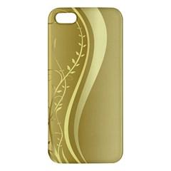 Golden Wave Floral Leaf Circle Iphone 5s/ Se Premium Hardshell Case by Alisyart