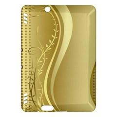 Golden Wave Floral Leaf Circle Kindle Fire Hdx Hardshell Case by Alisyart