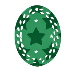 Green White Star Oval Filigree Ornament (two Sides) by Alisyart