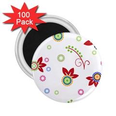 Floral Flower Rose Star 2 25  Magnets (100 Pack)  by Alisyart
