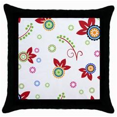 Floral Flower Rose Star Throw Pillow Case (black) by Alisyart