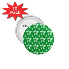 Green White Star Line Space 1 75  Buttons (10 Pack) by Alisyart