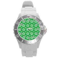 Green White Star Line Space Round Plastic Sport Watch (l) by Alisyart